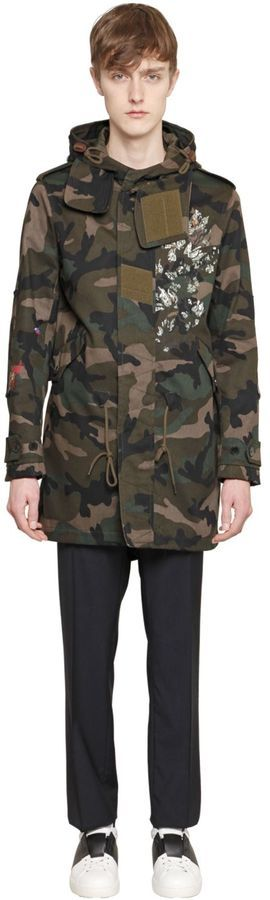 bffb546d89373 Valentino Printed Camo Cotton Drill Parka Coat, $4,995 ...