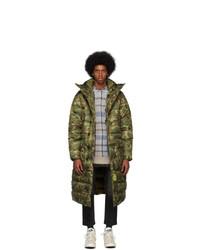 R13 Khaki Brumal Edition Camo Down Long Anorak Puffer Coat