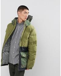 Analog Kilroy Ski Puffer Jacket Hooded Mixed Camo Print In Green