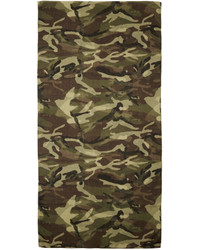 Saint Laurent Green Brown Camouflage Scarf