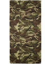 Saint Laurent Green Brown Camouflage Scarf
