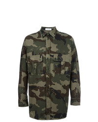 Camouflage print shirt jacket green medium 7131355