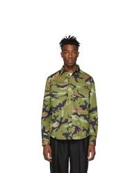 Valentino Green Camo Overfit Shirt Jacket