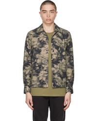 rag & bone Khaki Taupe Camo Finlay Shirt Jacket