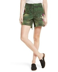 Free People Camo Embroidered Scout Shorts