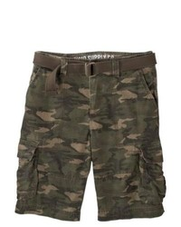 SG Corporation Mossimo Supply Co Rip Stop Belted Cargo Shorts Green Camouflage 30