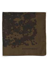 Burberry Camo Print Silk Pocket Square Olive