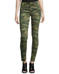 True Religion Halle Mid Rise Super Skinny Jeans Green Destroyed Camo