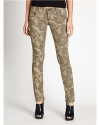 GUESS Low Rise Moto Seam Skinny Jeans In Tinted Camo Wash