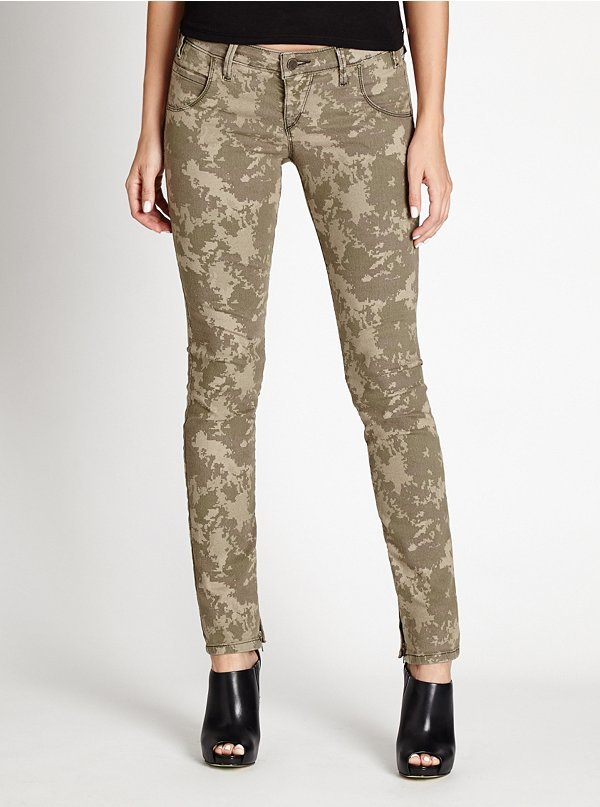 Guess Low Rise Moto Seam Skinny Jeans In Tinted Camo Wash 128 Guess Lookastic