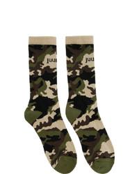 Juun.J Four Pack Camo And Colorblock Socks