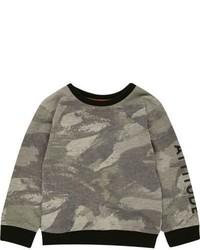 River Island Mini Boys Khaki Camo Sweatshirt