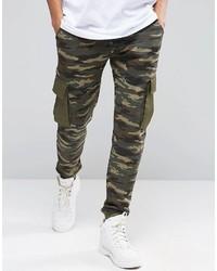 Asos Brand Slim Camo Joggers With Cargo Pockets