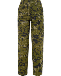 We11done Camouflage Print Cotton Twill Tapered Pants