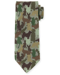 Etro Silk Dog Camo Print Tie Green Multi