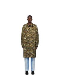 Random Identities Brown And Green Nylon Trench Coat