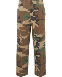 R13 Slouch Cropped Camouflage Print Cotton Twill Wide Leg Pants