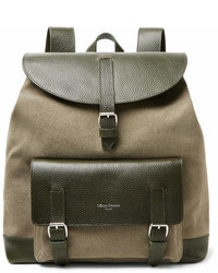 Full grain leather and canvas backpack medium 6977084