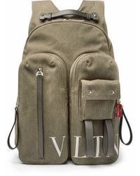 Garavani vltn leather trimmed canvas backpack medium 6977085