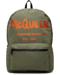 Alexander McQueen Khaki Orange Graffiti Metropolitan Backpack