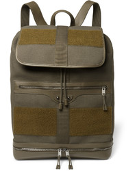 Balenciaga Traveller Leather And Felt Trimmed Canvas Backpack