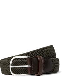 Andersons 35cm green leather trimmed woven elastic belt medium 432452