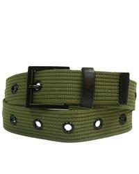 Luxury Divas Olive Military Canvas Grommet Belt Wblack Hardware