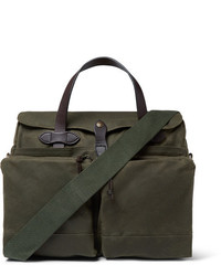 Filson 24 Hour Leather Trimmed Coated Canvas Briefcase