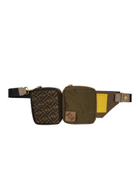 Fendi Green And Black Canvas Multi Pouch Forever Belt Bag