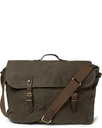 Abingdon waxed cotton canvas and leather messenger bag medium 142866