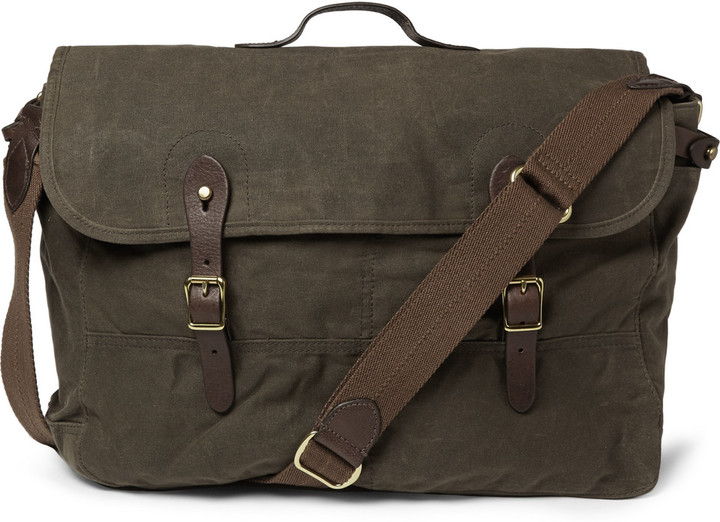 4bf2a57aebb J.Crew Abingdon Waxed Cotton Canvas And Leather Messenger Bag ...