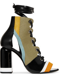 Pierre Hardy Alchimia Paneled Leather Suede And Canvas Sandals Army Green