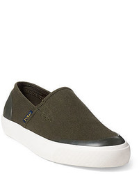 Olive Canvas Slip-on Sneakers