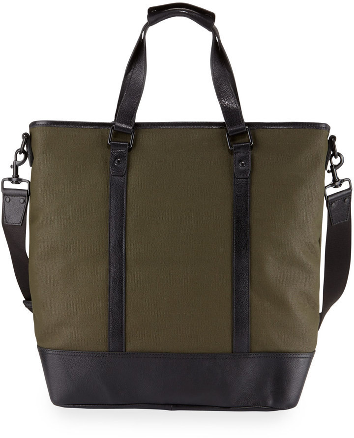 ca342b5ad01 Cole Haan Leather Trim Canvas Tote Bag Olive, $245 | Last Call by Neiman  Marcus | Lookastic.com