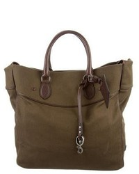 Ralph Lauren Leather Trimmed Canvas Tote