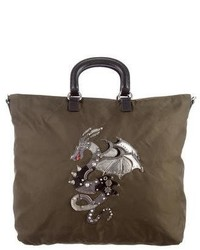 Prada Saffiano Leather Trimmed Dragon Tote