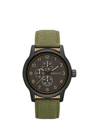 Claiborne Round Dial Multifunction Green Canvas Strap Watch