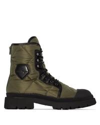 Salvatore Ferragamo Logo Patch Quilted Combat Boots