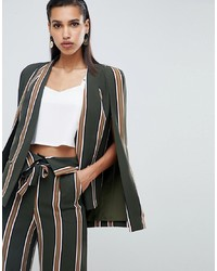 Lavish Alice Classic Cape Blazer In Stripe Print
