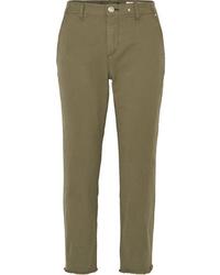 Rag & Bone Y Cropped Cotton Blend Twill Straight Leg Pants