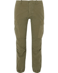 Nili Lotan Cropped Cotton Blend Twill Tapered Pants