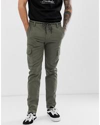YOURTURN Skinny Cargo Trouser In Khaki With Ankle Zips