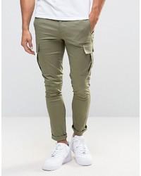 Asos Super Skinny Cargo Pants In Light Khaki