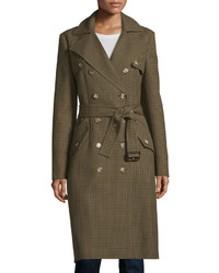Michl kors collection double breasted mini check trench coat barleyolive medium 609471
