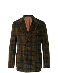 Olive Check Double Breasted Blazer