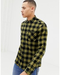 d509430a0cc139 Olive Flannel Long Sleeve Shirts for Men   Men's Fashion   Lookastic.com