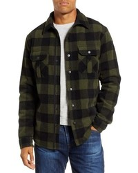 Olive Check Flannel Shirt Jacket