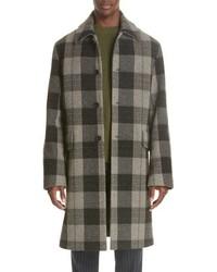 Olive Check Overcoat