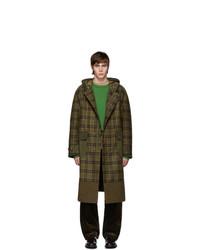 Junya Watanabe Khaki Check Wool Coat