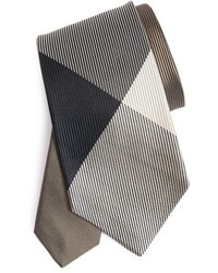 Textured check silk tie medium 826968